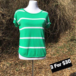 F Short Sleeve Stretch Top Striped Green White S
